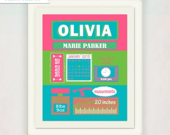 New Baby Gift // Birth Announcement Poster // Girls Pink Green and Blue Gift // Modern Birth Print // Children's Nursery Art / Illustration