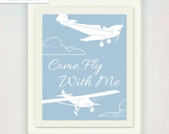 Vintage Airplane Print // Boy's Plane Antique Style Nursery Art // Come Fly With Me Print // blue and white or custom colors