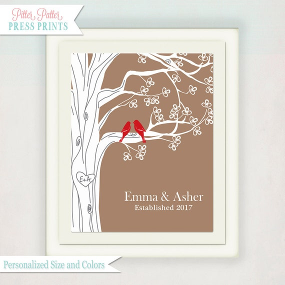 Personalized Wedding/ Anniversary Bird and Tree Print with Family Name // Custom Gift with your initials on a tree // Art Print