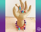 Wrap/Bangle, Coral Pink, Purple, and Turquoise Wood Beads, Silver Balls Bracelet, And/Or Earrings, Sterling Silver Ear Wires with Hearts