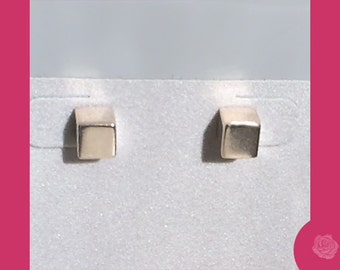 Studs, Sterling Silver 6mm Square Post Earrings