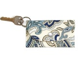 Blue Paisley Keychain Wallet, Student ID Holder and Key Ring, Dorm Room Key Ring and ID Cardholder