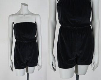 Vintage 80s Romper / 1980s Minimalist Strapless Black Velour Romper M L
