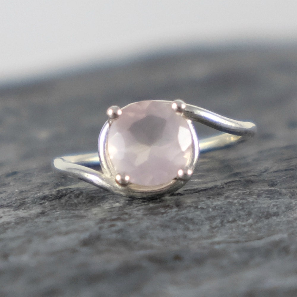 Rose quartz engagement ring rose quartz ring love gemstone for Quartz wedding rings