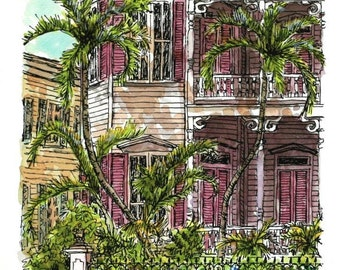 """Watercolor Pen and Ink 14"""" x 9"""" Custom Home Portrait Architectural Art House Portrait, New Home Housewarming Gift, Realtor Gift, Anniversary"""