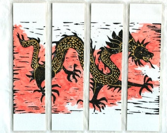 """Watercolor Chinese dragon laminated original art bookmarks 2"""" x 7.25"""" set of 4 linocut abstract oriental Asian dragon red black gold"""