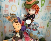 Steampunk Mad Hatter Tea Party - ORIGINAL OOAK Miniature Sculpture - Wall Decor
