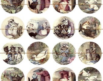 "Beatrix Potter Magnets, Tom Kitten Magnets, Storybook Magnets, Tom Kitten Cabochons, Beatrix Potter Pins, 1"" Flat, Hollow Bk, Cabs, 12 ct"