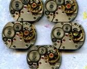 """1/2"""" x 5/8"""", 5 IDENTICAL little watch movements, best price, jewelry art, steampunk, vintage, watch parts, JunqueTreasures, WM12"""