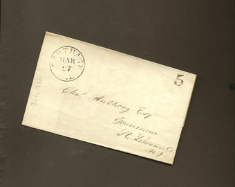Stampless Cover 1850 CARTHAGE to Gouverneur St Lawrence County New York – Seldom Found Philatelic Collectable
