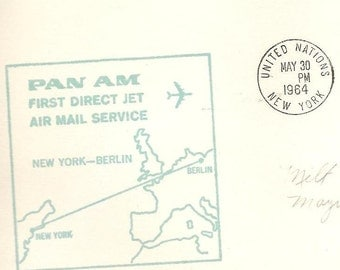 FFC New York to Berlin PAN AM First Direct Jet Air Mail Service May 30 1964 with United Nations  C11 Great Airmail Cover