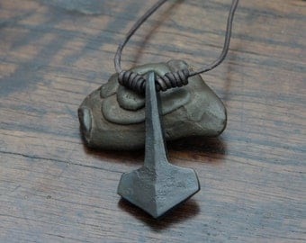 Mjolnir pendant, a hand forged large Pure Iron Thor's hammer