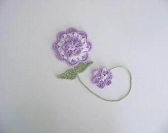 Flower Bookmark, Hand crocheted, Great Teacher Gift