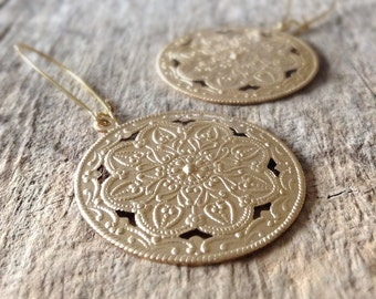 Gold Shield Earrings, Moroccan Earrings, Bridesmaid Gift, Gold Earrings, Gifts For Her, Disc Earrings, Bohemian Earrings, Bohemian Jewelry