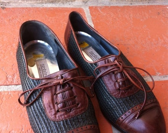 90's Oxford Shoes Hunter Green Brown 9 woven