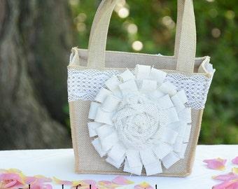Shabby Chic Burlap Flower Girl Basket Adorned with  White Fabric Rosette, Wedding Flower Girl Basket