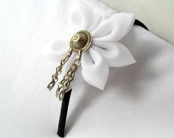 Black and White Headband Kanzashi Flower Kuchi Button Belly Dance
