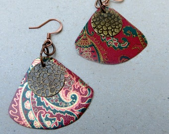 Upcycled Vintage Tin Earrings in Christmas Colors Red Green and Gold
