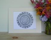 Aztec Mandala with Phases of the Moon, mandala, aztec, aztec print, aztec mandala, phases of the moon art, mandala art, aztec art, prints