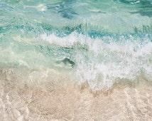 "Ocean Wave Photography, Aqua Beach Decor, Coastal Living, Crashing Wave, Clear Water, Turquoise Aqua White Beach Seaside ""Aqua Crush"""