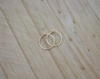 14k Gold Filled Hoop Earrings. 1/2 inch Hoop Earrings. 14k Gold Earrings. Half inch Hoop Earrings.