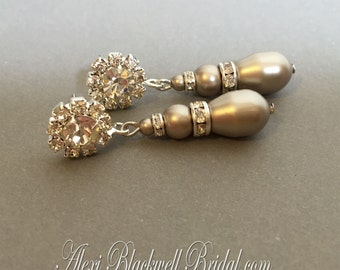 Pearl Earrings in Taupe Swarovski Platinum Pearls and Rhinestone post mother of the bride or bridal wedding jewelry gift your color choice