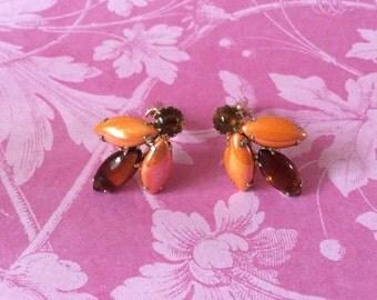 Orange & Amber goldtone clip on earrings - 60's