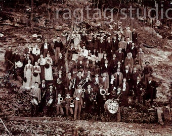 Antique Photo Download, 1900 School Band, Vintage Photo, Old Photo, Fabulous Edgewood Band