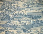 """Blue French Toile """"Zarafa"""" Historic19th Century Giraffe in Paris by Charlotte Moss for Brunschwig & Fils Fabric Remnant - 52W x 70L Inches"""