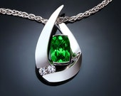 green topaz necklace, white sapphire pendant, mother's day gift, Argentium silver, green necklace, statement necklace, for her - 3378