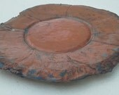 Terra Cotta Platter with Blue and Rough Edges