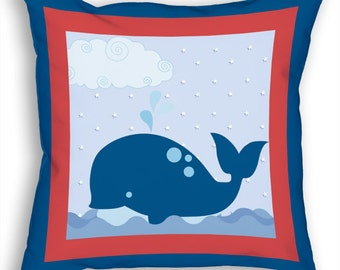 """Anchors Away! Theme Kids 18"""" Accent/Throw Pillow Boys Whale Tale Nautical Blue Baby/Nursery Room Decor Accessories by PICKLEBERRY KIDS"""