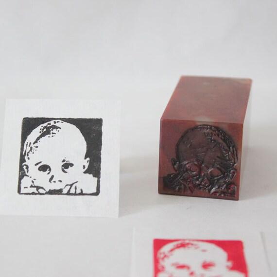 Custom baby portrait stamp children kids seal