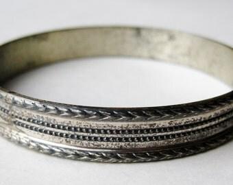 Vintage 40s Art Deco Beau Sterling Silver Wide Bangle Bracelet
