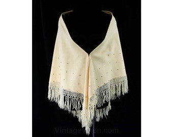1950s Butter Cream Wool Shawl - Triangular Wrap - Taupe - 50s - Hand Knotted Fringe - Metallic Gold Sequins - Fall - Winter - 44140