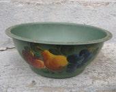 vintage toleware bowl painted fruit bowl green metal bowl country rustic primitive cottage