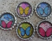 5 x Butterfly Inspired Flattened Silver Bottle Caps - Great for Jewellery, Cards, Keyrings