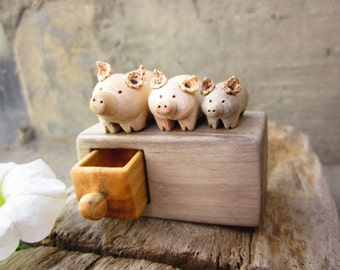 Wood carving, miniature chest of drawers with pigs, Made to  Order, Wood Sculpture, Wood box, Personalized Gifts, one of a kind gift