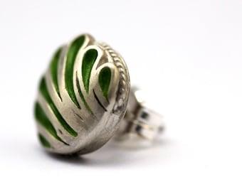 Handmade Stud earrings, Green enamel, 14k white gold, Mother gift, Bday gift for mom, Stud organic, Flower stud, Green earrings gift