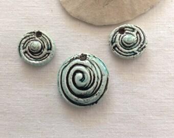 Set of 3 Handmade Porcelain Pendants/Beads