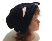 Black Cat Hat Slouchy Cat Beanie Black Kitty Ears Beanie Novelty Hat Silly Beanie Cat Cosplay
