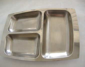 Vintage Mid Century Modern Stainless Steel Serving Tray