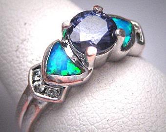 Vintage Tazanite Opal Ring Estate Retro Wedding Engagement Band