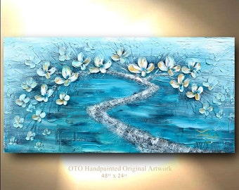 ORIGINAL Teal Painting Original Abstract Tree Painting Art Landscape Gold flower Fantasy color Contemporary Texture Painting by OTO