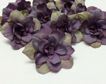 Overstock Sale -10 Delphinium Blossoms in Purple Accented With Khaki Beige - 3 Inches - Artificial Flowers