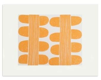 Scandinavian inspired screenprint, modern orange silkscreen print, 'Two Orange Stems'. Handmade original art by Emma Lawrenson