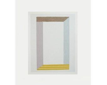 Minimalist art, Geometric print, contemporary screen print, handmade original work on paper by Emma Lawrenson. Modern wall decor