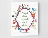 And Though She Be But Little She Is Fierce, Nursery Canvas Art, Wall Art Canvas, Nursery Art, Shabby Chic, Canvas Quotes, Canvas Wall Art