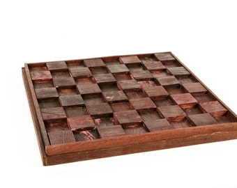 Rank and File - Barrel stave chess and checkers board // Unique gift // Collectors item // Custom Board games // Wine barrel tank wood