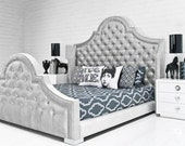 Tufted Bed Wingback Velvet King Queen Full Twin Nailhead Trim Bed Frame Made BY CUSTOM ORDER